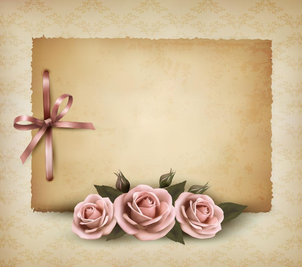Rose Background Frame 03 Vector Icon Template Clipart