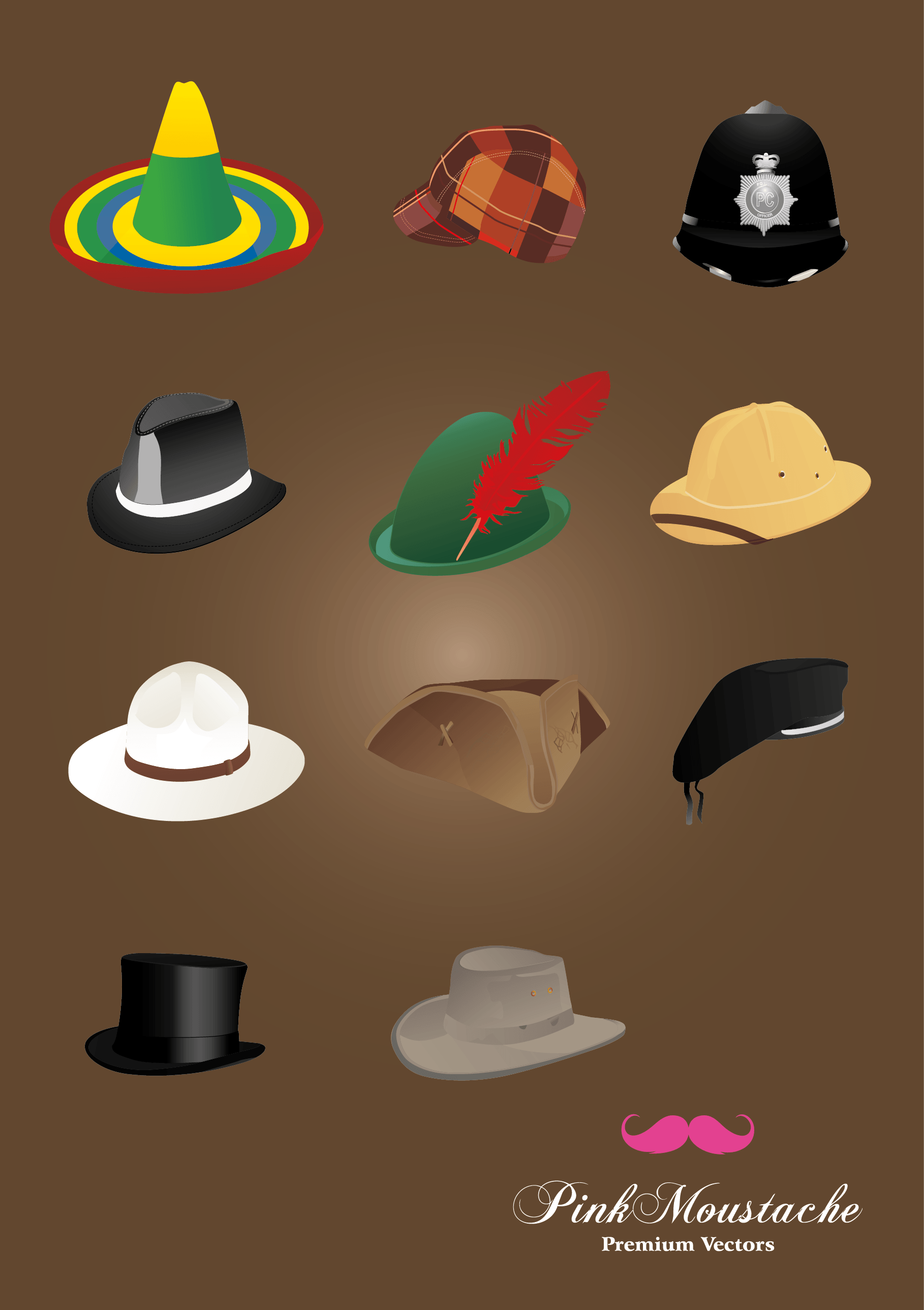 Various hats vector objects png