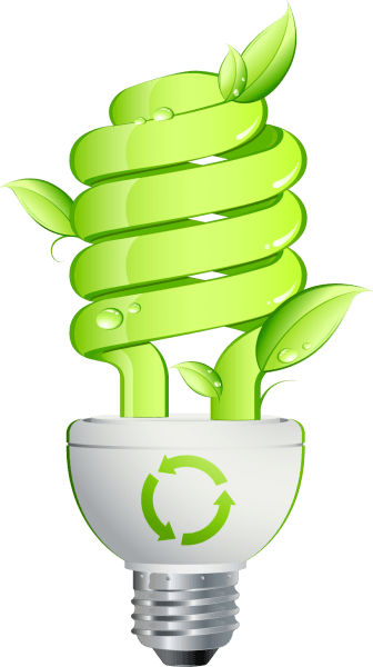 Green Leaf and Energy Saving Lamp Vector png