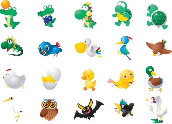 Cute Animal Character Illustrations png