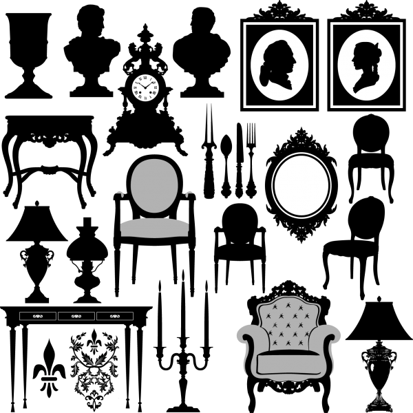Antique Furniture Silhouette Vector