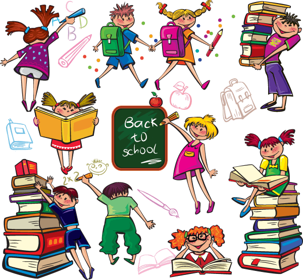 Back to school cute colorful cartoon boys and girls 01 600x554 vector