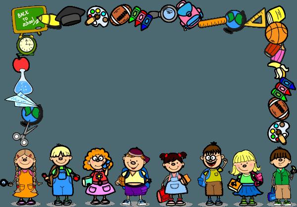 Cartoon School Frame Vector png