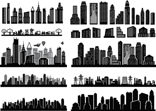 City Skyscrapers Silhouette Set 05 png
