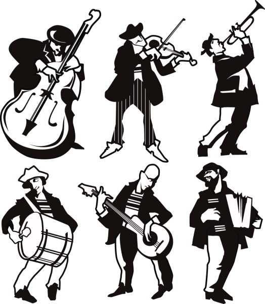 Different Musicians Silhouette png