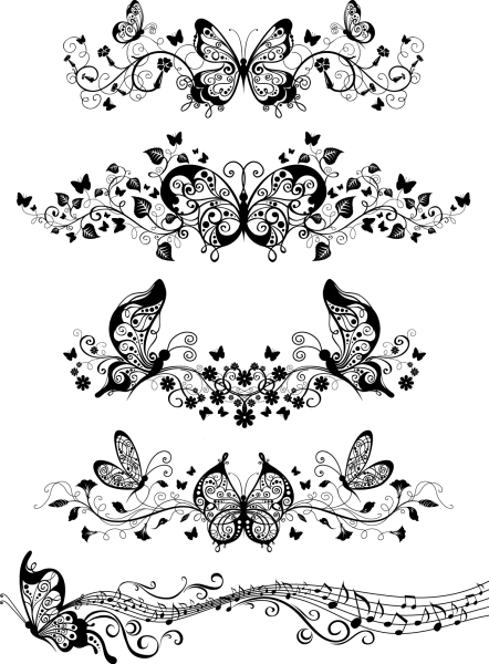 Floral with Butterflies Vector png