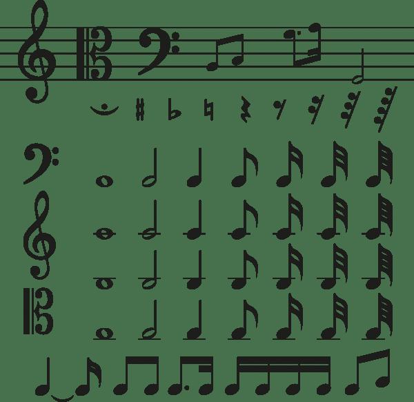 Various music symbols material 600x582