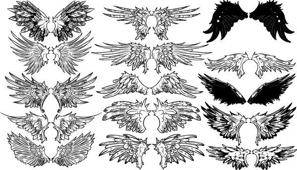 Vintage Wings Vector Set 04 png