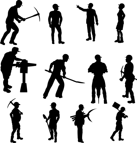 Workers Silhouettes Set 01 png