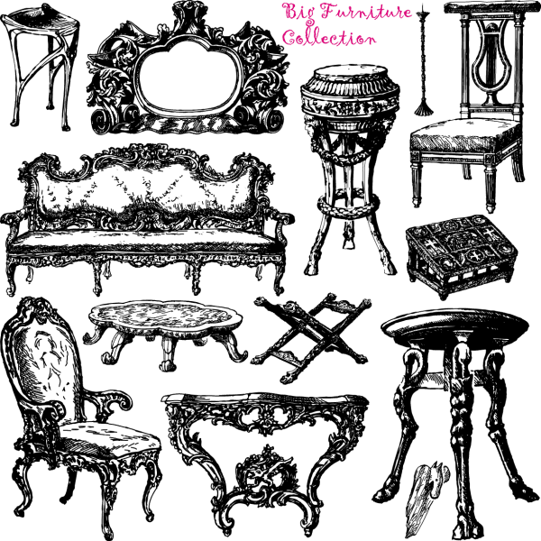 Antique Furniture Handpainted Pattern Vector png