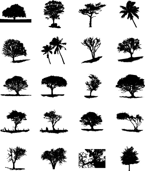 Trees Silhouette 02 png
