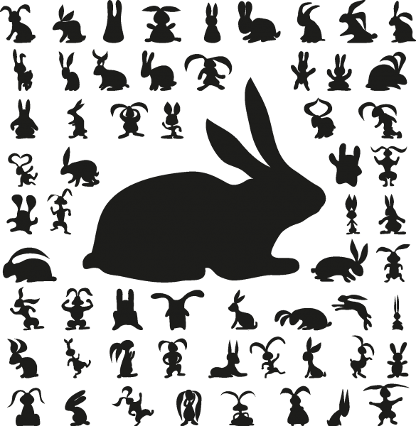 Cute bunny silhouettes png
