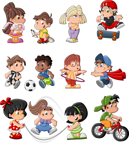 Different Cartoon Children Elements