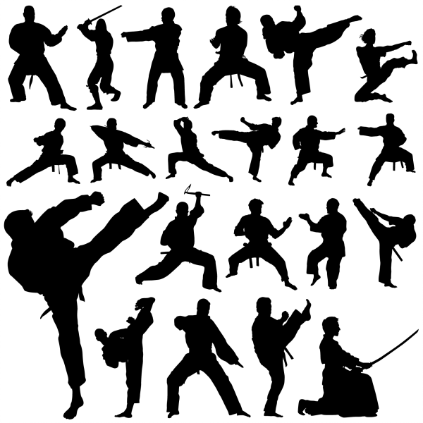 Martial Art Silhouettes 01 png