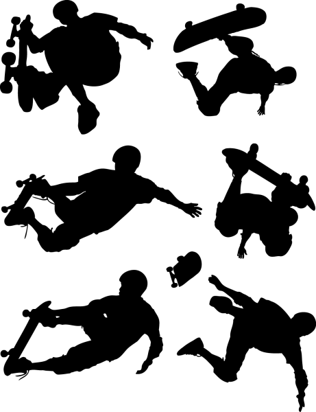 Skateboard Action Figures Silhouettes png