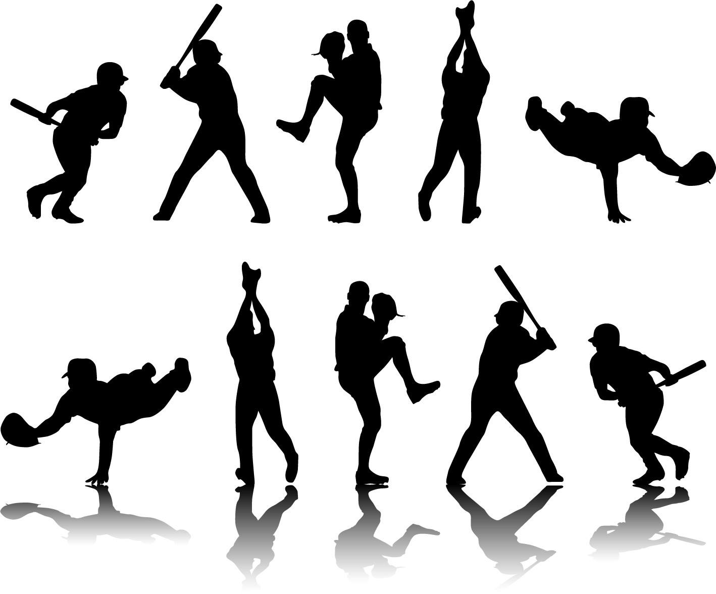 Playing baseball sports silhouette png