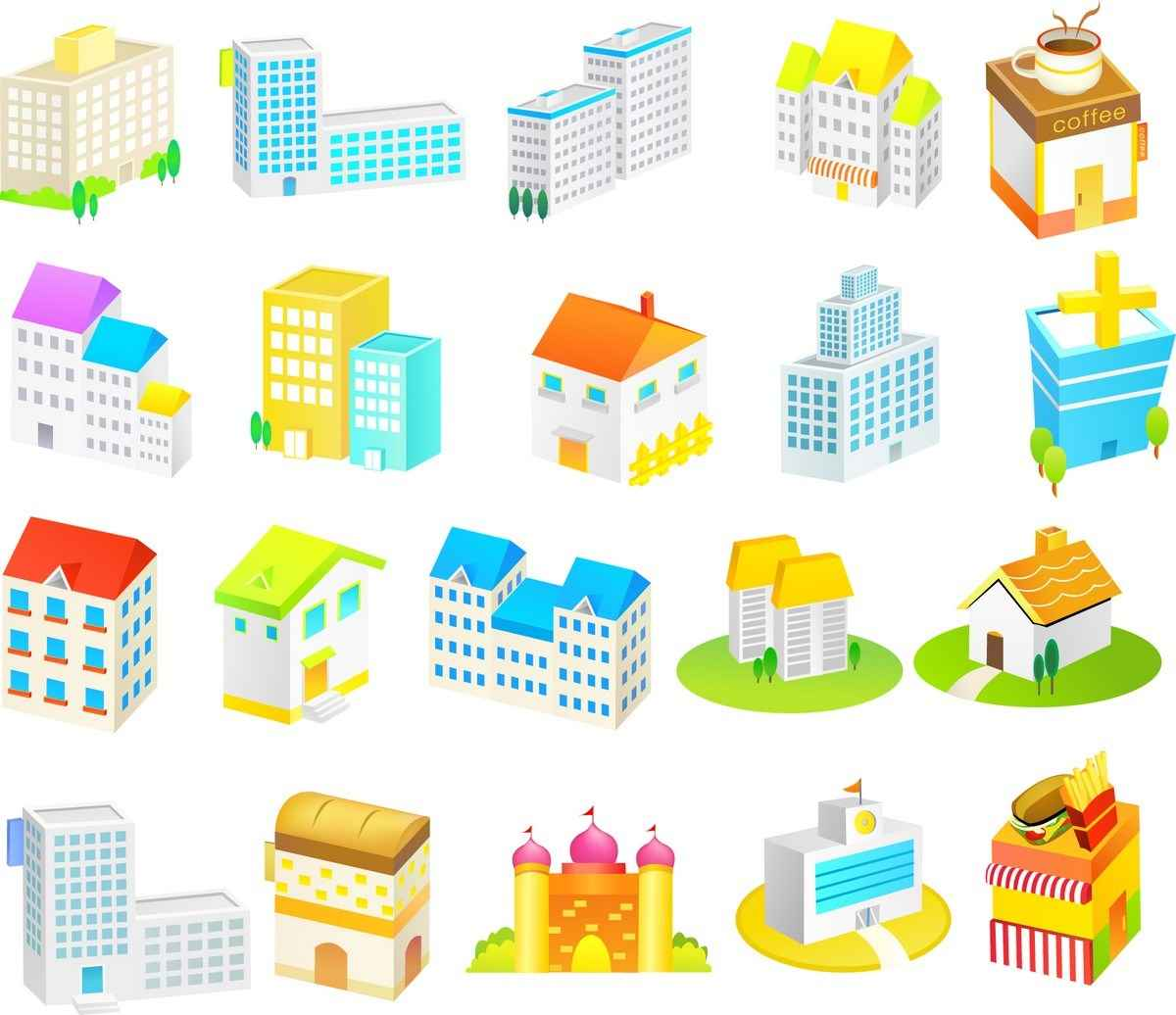 Cartoon Construction Icons 01 png
