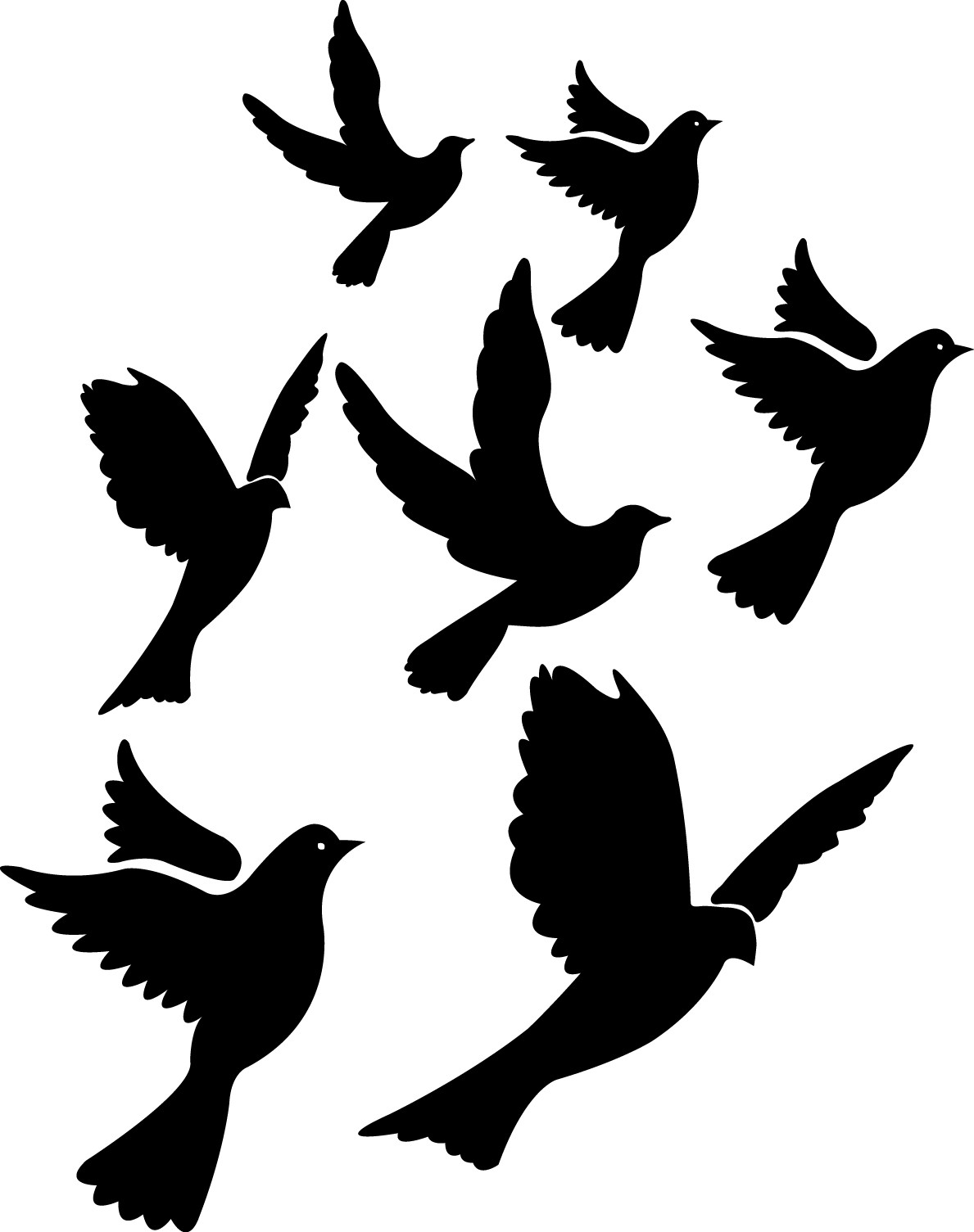 Flying pigeons silhouette png