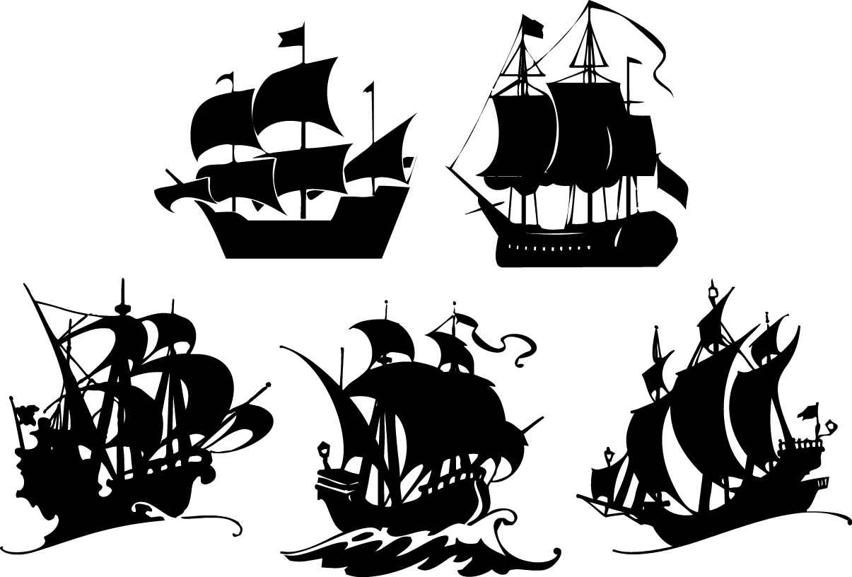 Sailing silhouettes png