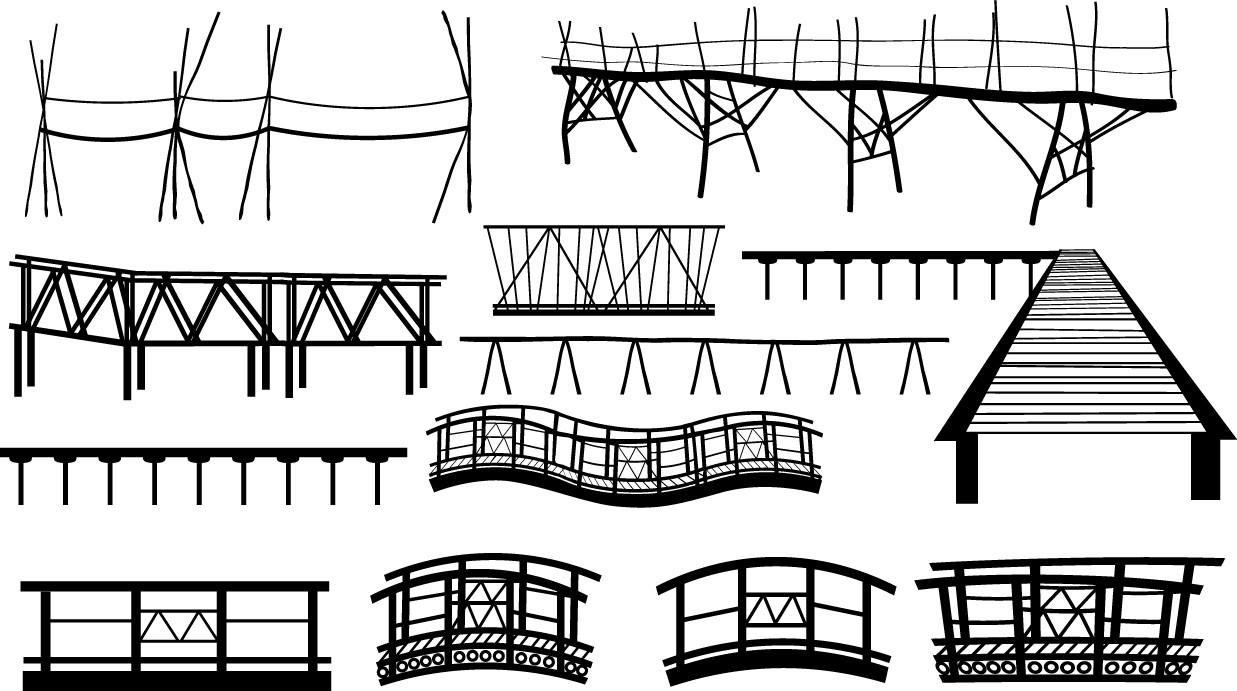 Bamboo bridge pier silhouettes png