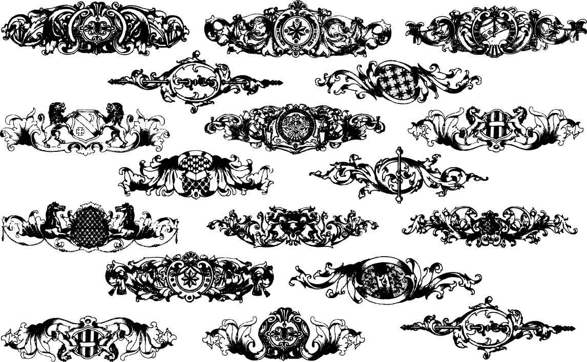 Baroque floral elements png