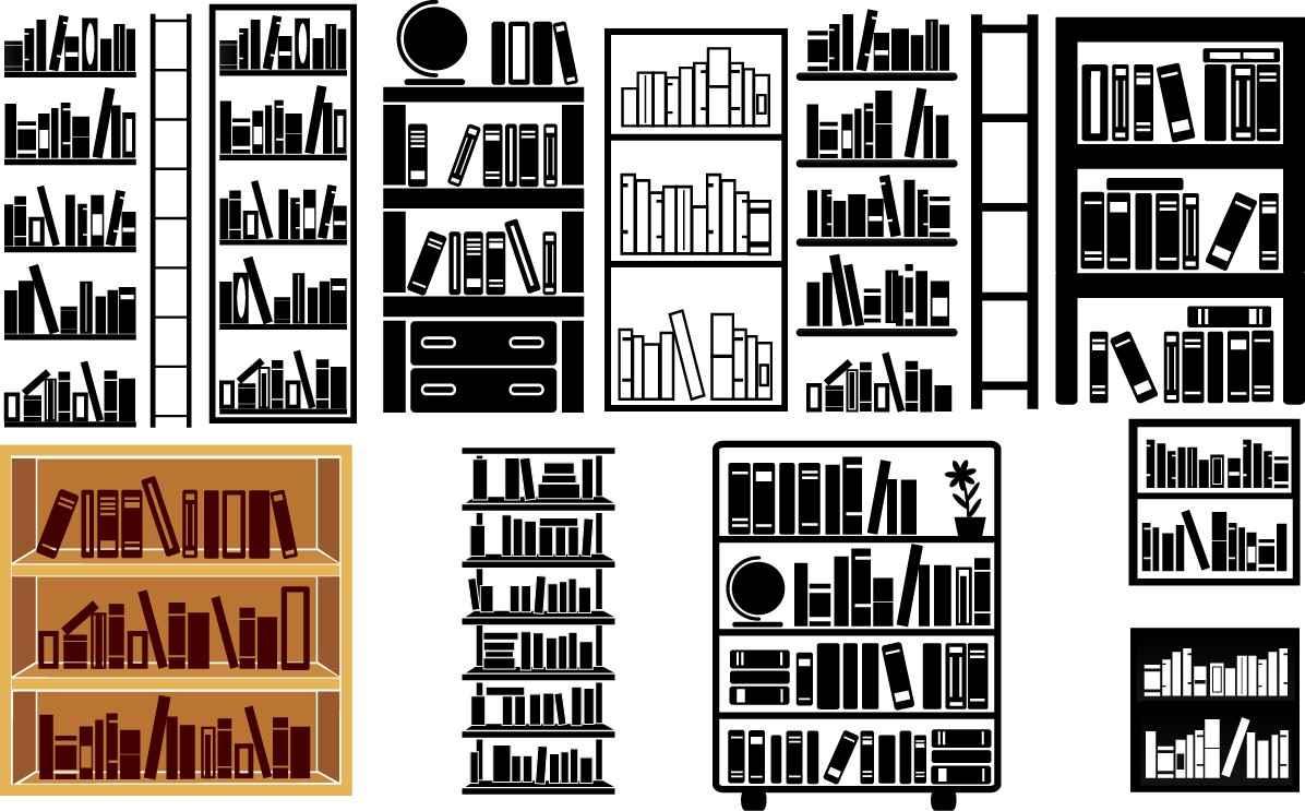Bookshelves silhouette png