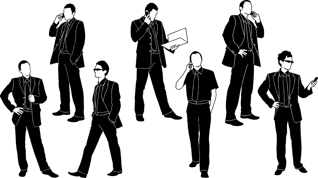 Businessman in black suit silhouette png