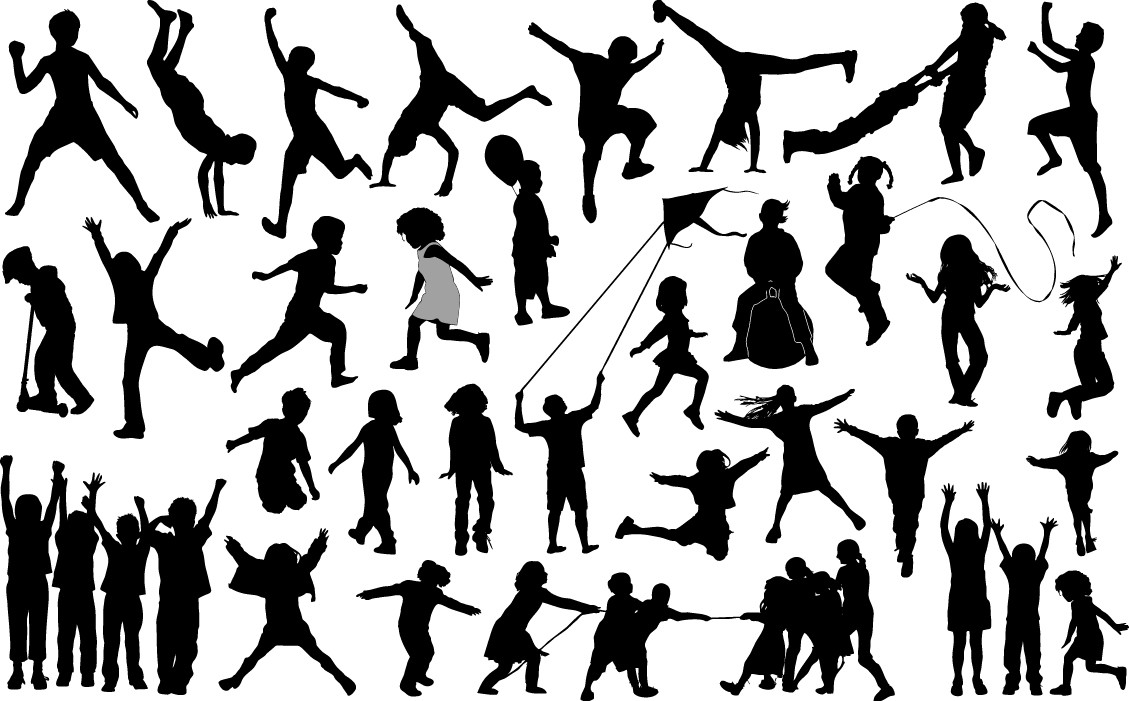 Children playing outdoor silhouette png