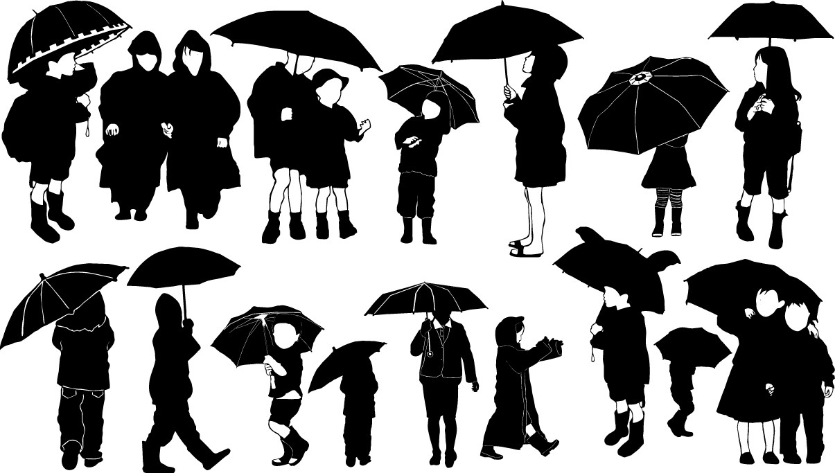 Children with umbrella silhouettes png