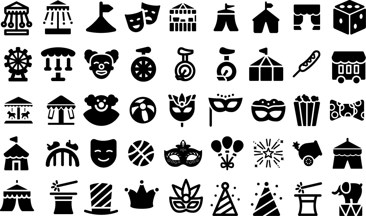 Circus festival vector icons png