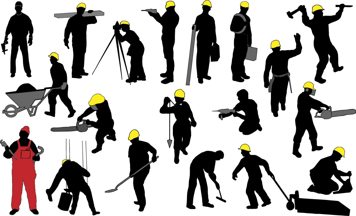 Construction worker silhouettes png
