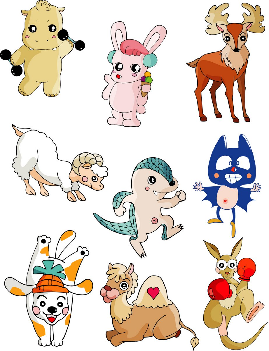 Cute cartoon animal series png