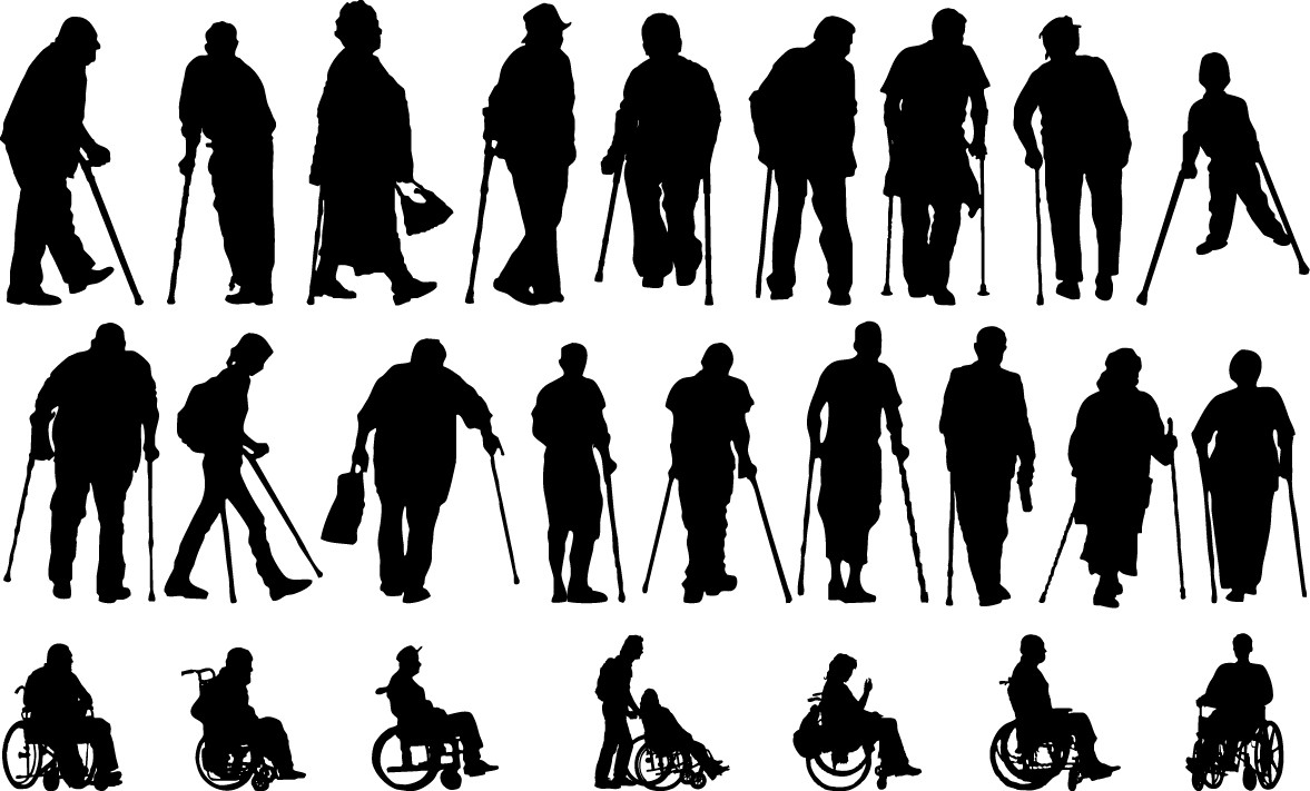Disabled people silhouettes png