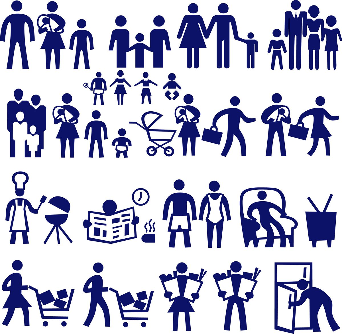 Family characters silhouette png