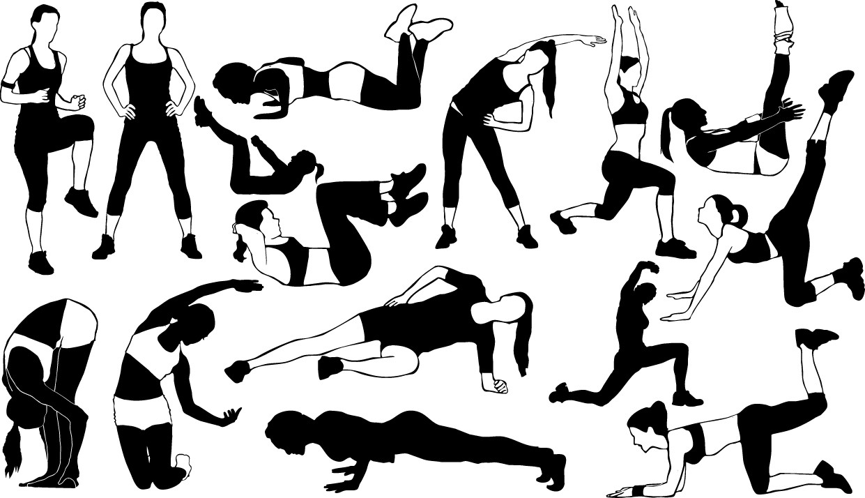 Fitness girl silhouettes png