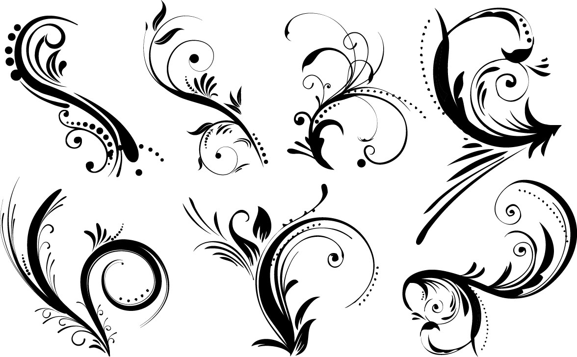 Floral ornament elements png