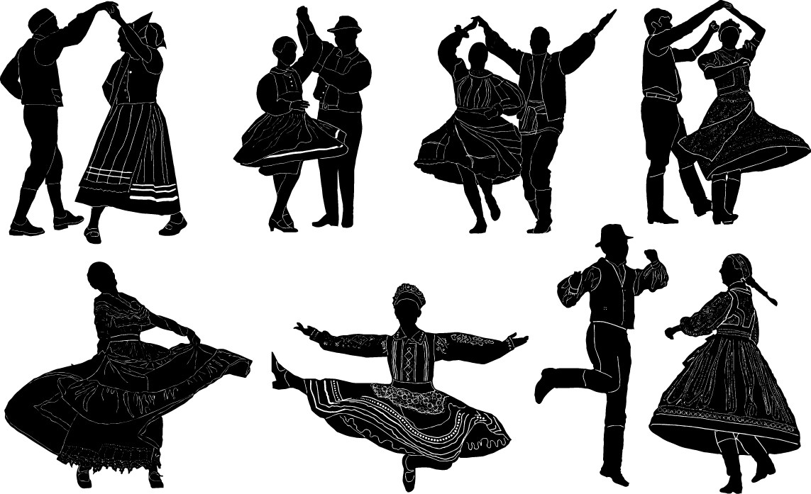 Folk dance silhouettes png