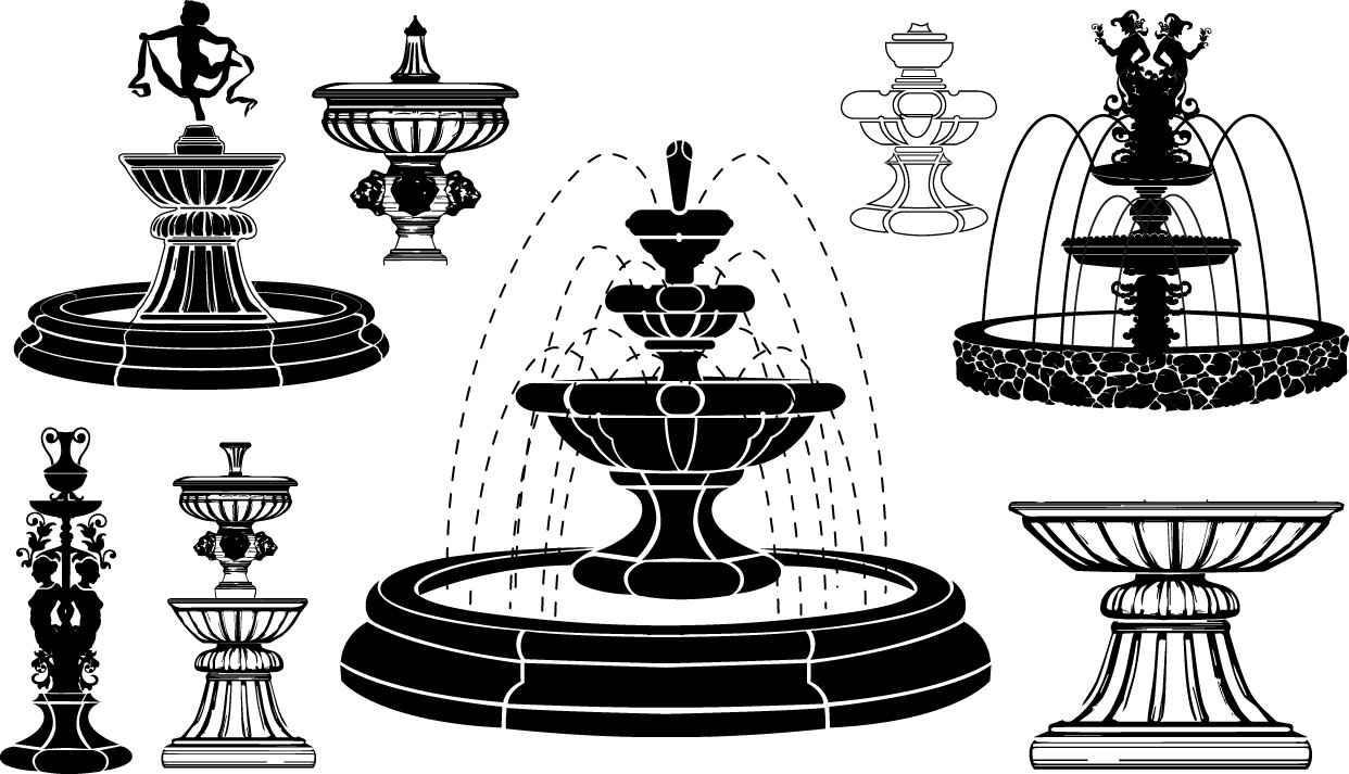 Fountain silhouettes png