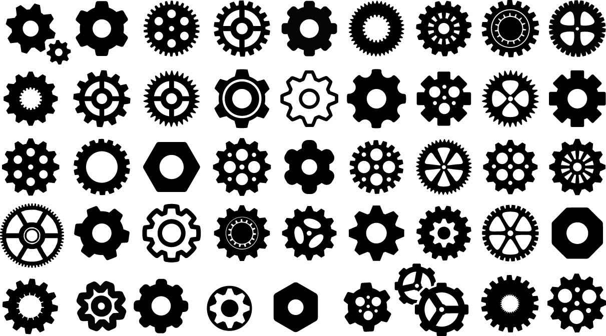 Gears silhouettes png