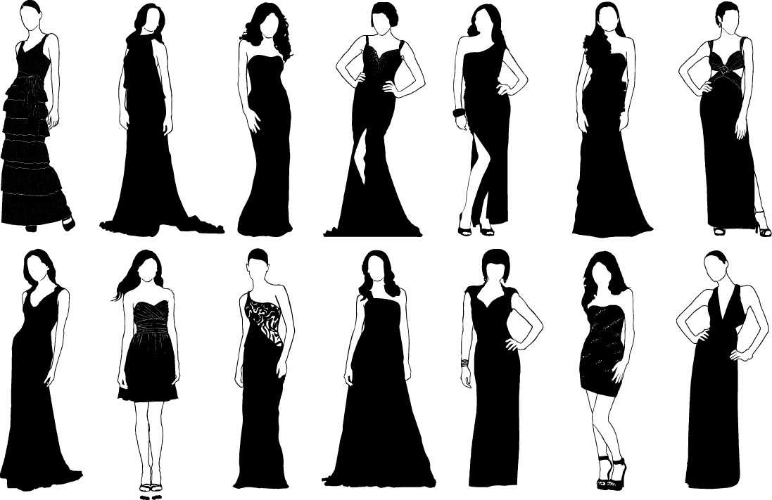 Girls in classic evening dress silhouette png