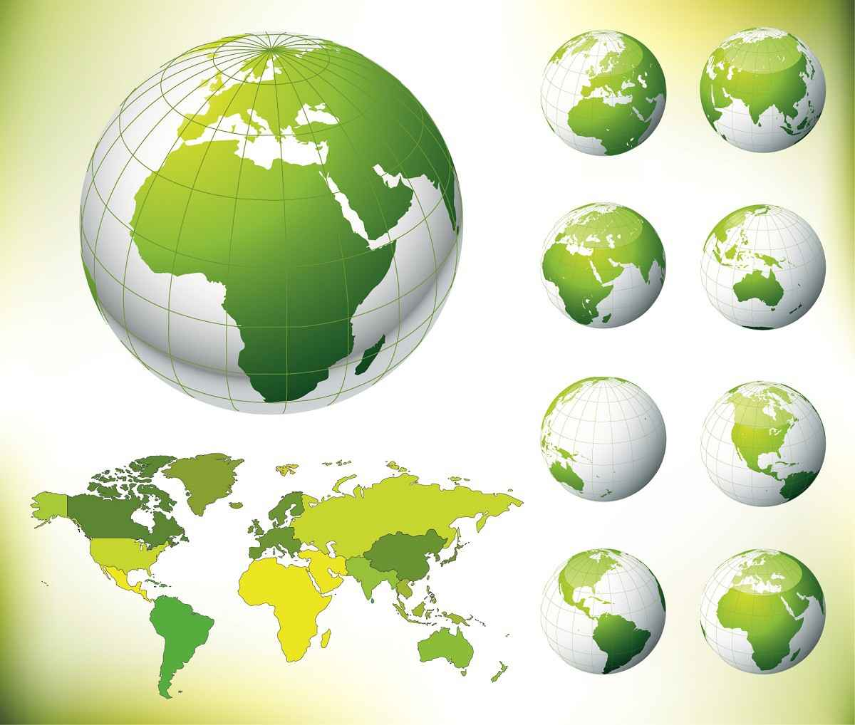 Globe with Green Map png