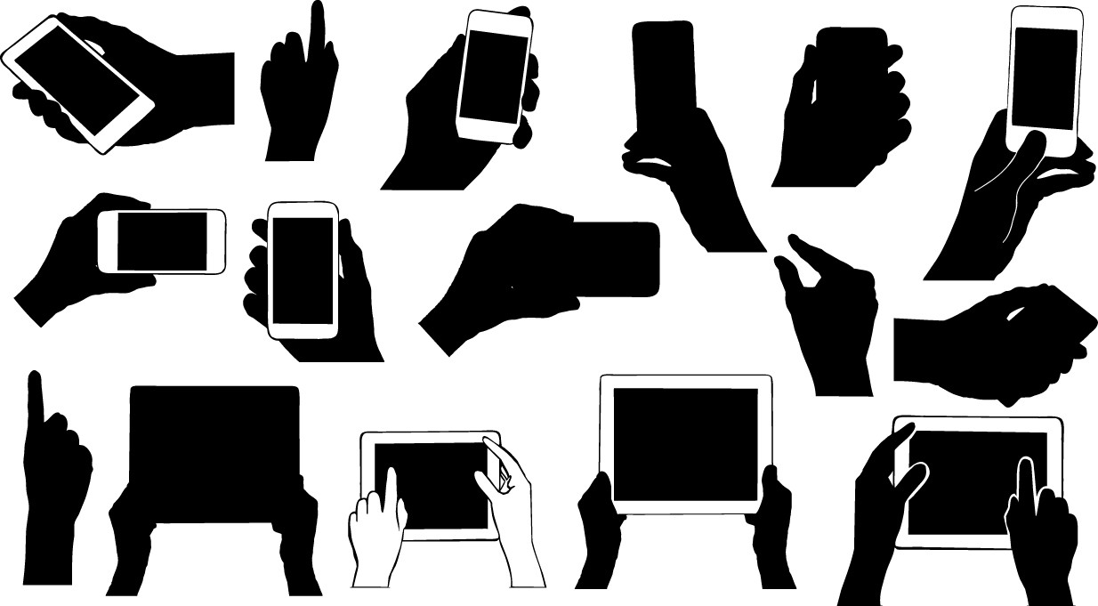 Hands holding electronic device silhouettes png