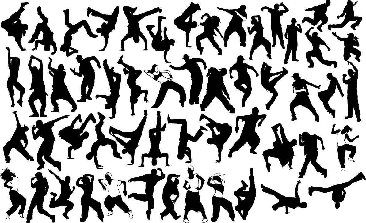 Hip hop dancers silhouettes png