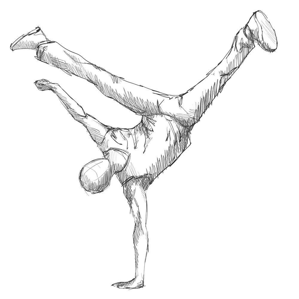 Hiphop man dancer sketch png