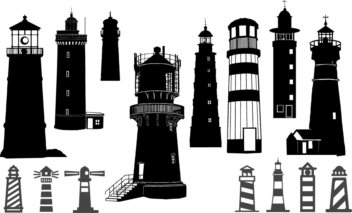 Lighthouse silhouettes png