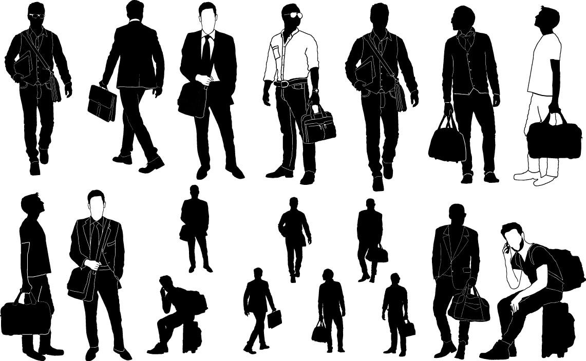 Man with handbag silhouette png