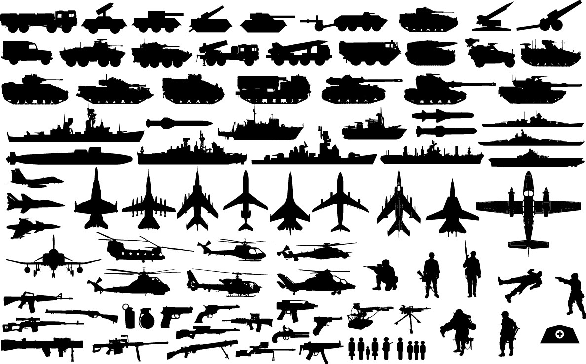 Military vehicle silhouettes png