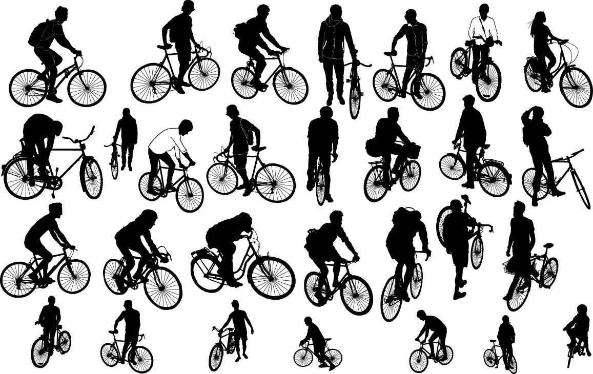 People on biker silhouette png