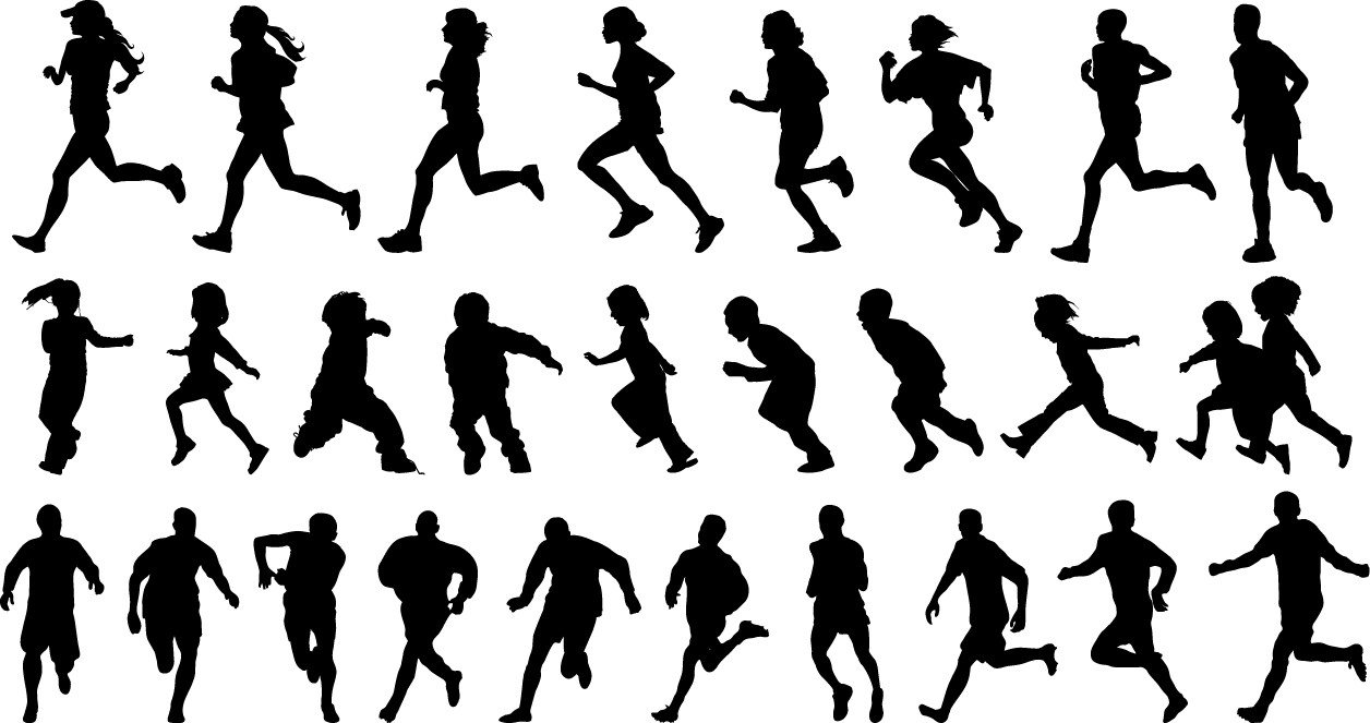 People running silhouette png