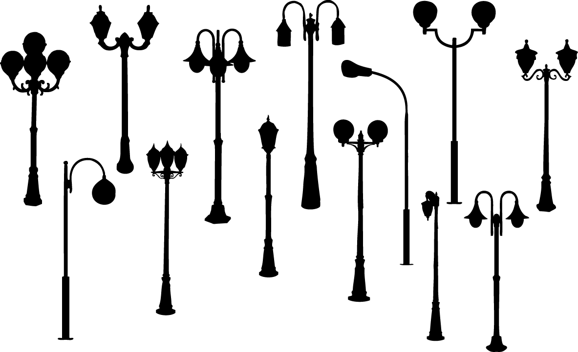 Retro street lights silhouettes png